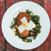 Black-Eyed Pea Cakes with Kale Salad and Mushroom Vinaigrette