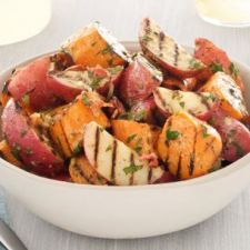 Grilled Potato Salad with Bacon-Scallion Vinagrette