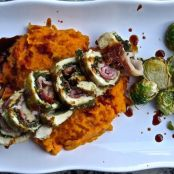 Stuffed Turkey Breast with Pancetta, Sage Pesto, Cranberry Glaze & Sweet Potato Purée