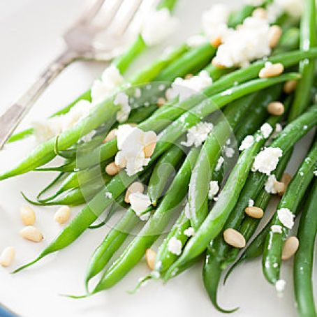Green Beans with Porcini, Pine Nuts and Goat Cheese
