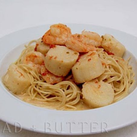 Scallops with Angel-Hair Pasta