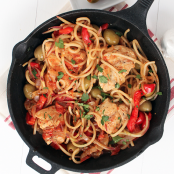 Basque Chicken with Red Potato Noodles