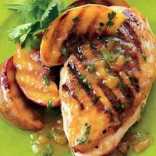Grilled Chicken & Peaches with Chipolte-Peach Dressing