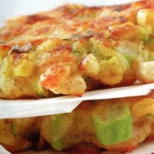 Zucchini & Corn Tortitas with Tomatillo-Cilantro Sauce