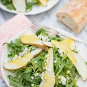 Arugula, Pear & Blue Cheese Salad with Warm Vinaigrette