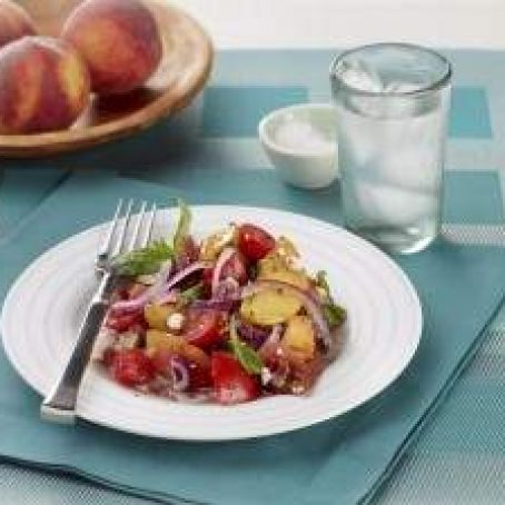Tomato and Peach Salad with Feta and Red Onion