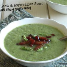 Creamy Leek & Asparagus Soup (with crispy maple bacon)