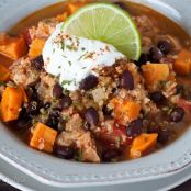 Black Bean, Sweet Potato, Quinoa Chicken Chili