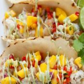 Fish Tacos with Mango Salsa & Avocado Cream Sauce
