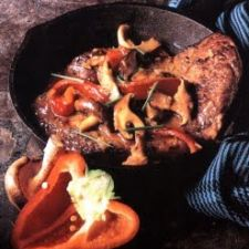 Steak with Roasted Red Pepper and Mushroom Sauce