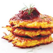 Crispy Root Vegetable Latkes with Beet Purée