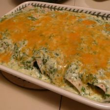 Spinach Enchiladas with Cilantro Cream Sauce