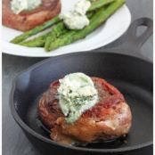 Bacon Wrapped Filet with Bleu Cheese Butter.