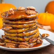 Pumpkin Pie Pancakes With Caramel Sauce