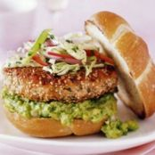 Salmon Burger with Avocado Lime Guacamole