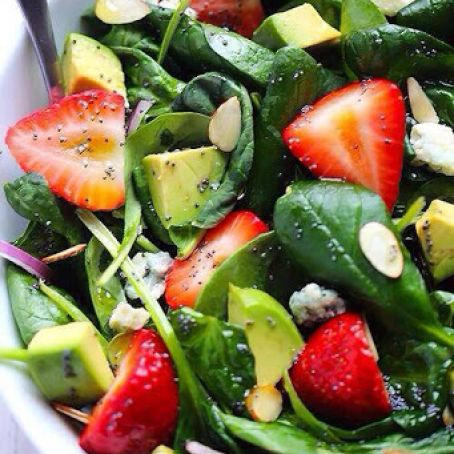 Salad - Avocado Strawberry Spinach With Poppy Seed Dressing