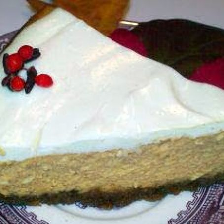 Gluten Free Pumpkin Cheesecake with Sour Cream Topping