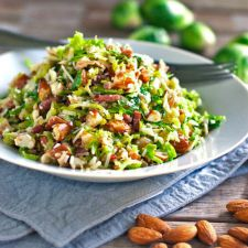 Shaved Brussels Sprouts Salad with Bacon Vinaigrette