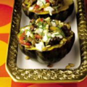 Guy Fieri's Roasted Acorn Squash with Turkey Sausage, Peppers, and Goat Cheese