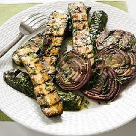 ZUCCHINI GRILLED WITH RED ONION WITH LEMON-BASIL VINAIGRETTE