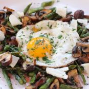 Fried Egg, Asparagus Crimini Surchoix De Chevre