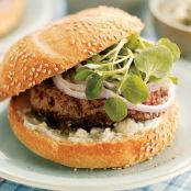 Hamburgers with Watercress & Roquefort Butter