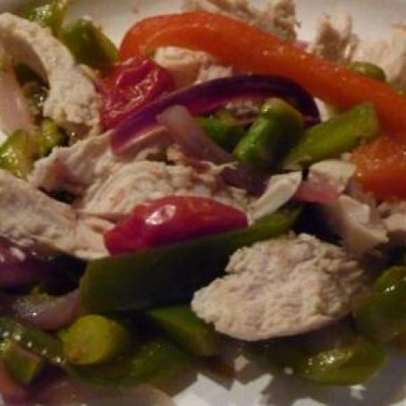 Asparagus & Peppers with Roasted Chicken
