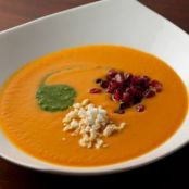 Spicy Pumpkin Soup with Cilantro Pepita Pesto