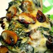 Smothered Chicken with Sauteed Mushrooms & Creamed Spinach
