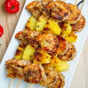 Grilled Jerk Shrimp & Pineapple Skewers