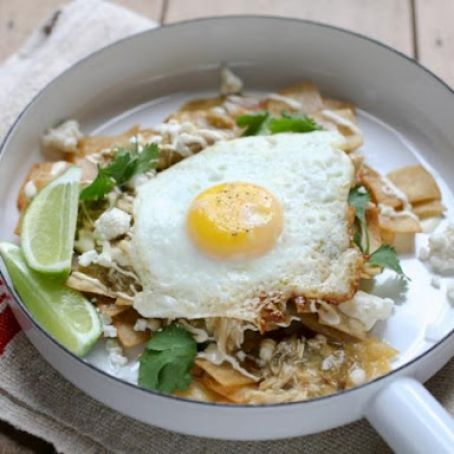 Simple Chilaquiles with Fried Eggs