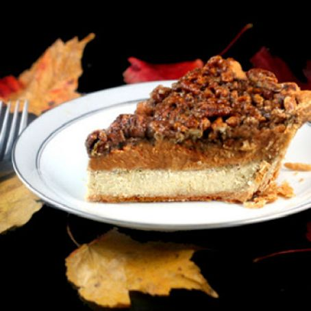 Pumpkin, Pecan, Cheesecake Pie