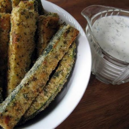 Baked Zucchini Fries with Homemade Ranch Dressing