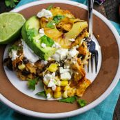 Chipotle and Black Bean Chilaquiles with Grilled Pineapple