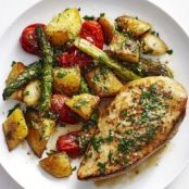 Chicken with Garlic Potatoes and Asparagus