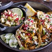 Chicken Tacos-Spicy Cider Beer Braised  w/Sweet Chili Apple-Pomegranate Salsa.