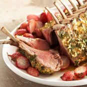 Herb-Crusted Rack of Lamb with Roasted Radishes & Orange Vinaigrette