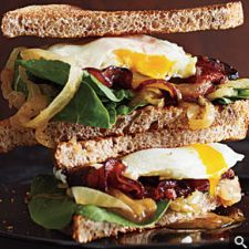 Bacon & Egg Sandwiches with Caramelized Onions & Arugula