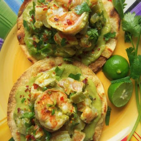 Grilled Shrimp Tostadas with a Creamy Tomatillo Avocado Salsa