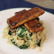Baked Tofu & Quinoa with Chickpeas and Spinach