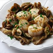 Seafood: Scallops with Shiitake and Oyster Mushrooms
