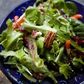Mixed Green Salad with Pecans, Goat Cheese, & Honey Mustard Vinaigrette