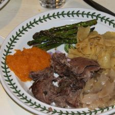 Leg of Lamb, Sweet and Sour Cabbage, Rosemary Noodles, Squash, Asparagus, Strawberries & Blackberries