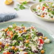 Mediterranean Cauliflower Couscous Salad with Roasted Chickpeas & Lemon Dressing