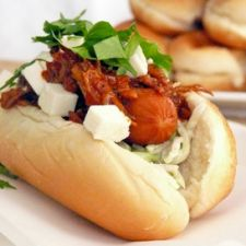 Pulled Pork Hot Dogs with Broccoli Slaw