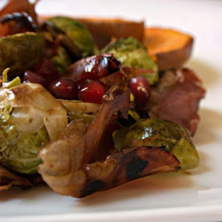 Balsamic-Roasted Brussels with Prosciutto and Pomegranate