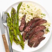 GRILLED STEAK AND ASPARAGUS WITH ORZO