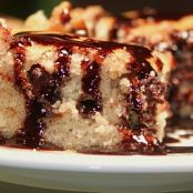 Banana Rum Chip Brownie with Hot Fudge Sauce