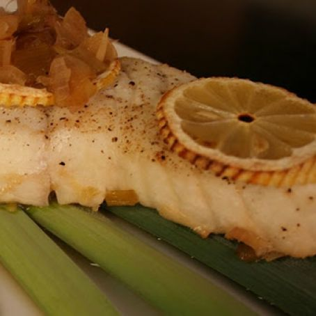 Halibut with Lemons & Leeks