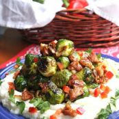 Honey Dijon Brussel Sprouts Over Mashed Cauliflower
